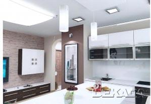 Небольшая кухня и гостиная объединены в общую студию