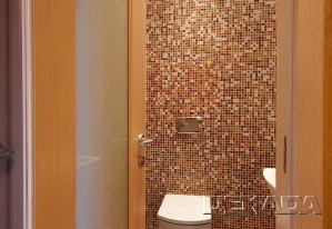 Стены в туалете облицованы мозаикой