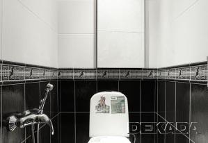 Туалет в контрастных черно-белых цветах