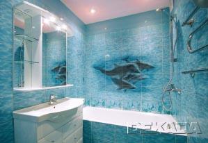 Готовое панно из плитки с изображением дельфинов