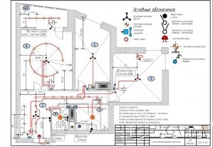 Схема освещения и выключателей.
