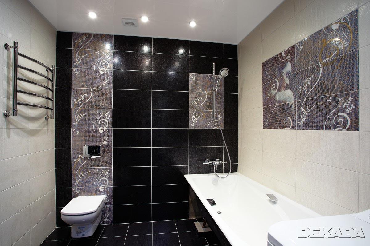 Черно-белый дизайн ванных комнат
