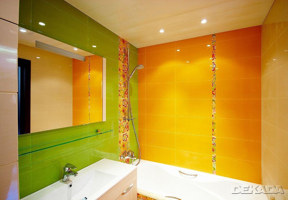 Ванная комната дизайн зеленая с желтым